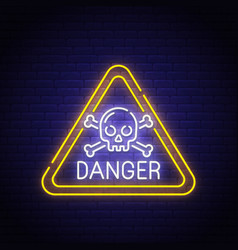 danger sing neon sign bright signboard vector image
