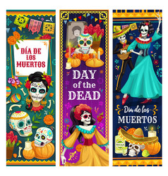 Dead day skulls skeletons altar mexican holiday vector
