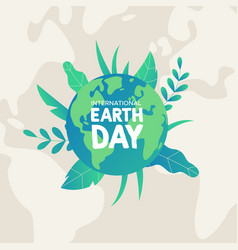 earth day card of green planet with leaves vector image