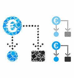 euro flow chart mosaic icon inequal elements vector image