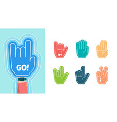 Fans fingers hands gestures for stylized cheering vector