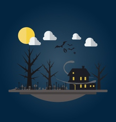 Flat design of spooky house vector image