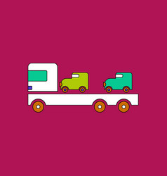 Flat icon design collection car carrier truck vector