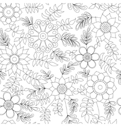 Floral pattern with leaves coloring vector image