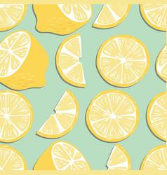 fruit seamless pattern lemon slices and halves vector image