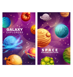 Galaxy and space colonization cartoon posters vector
