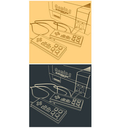 Game console and joysticks vector