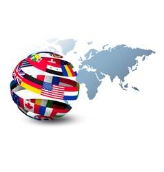 Globe made out of flags on a world map background vector