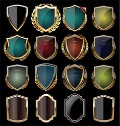 Golden shield collection vector