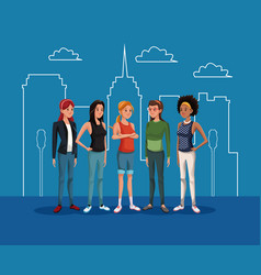 goupe women female standing with city landscape vector image