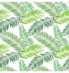Green and white palm seamless pattern Hawaiian vector