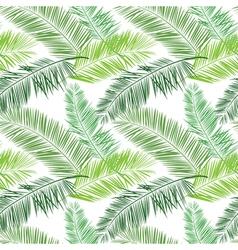 Green and white palm seamless pattern Hawaiian vector