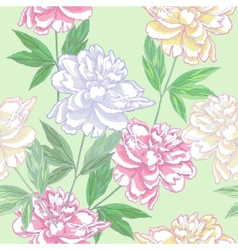 Green Seamless pattern with peonies vector image