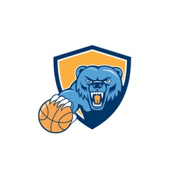 Grizzly Bear Angry Head Basketball Shield Cartoon vector image