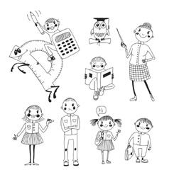 Hand drawn teacher and schoolchildren vector