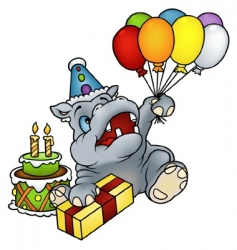 Hippo happy birthday vector