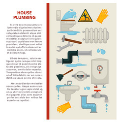House plumbing information poster or vector