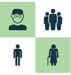 human icons set collection of scientist group vector image