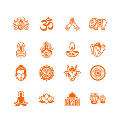 Indian culture icons micro series vector