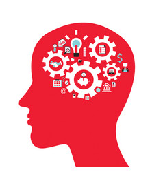 infographics concept with head profile brain vector image