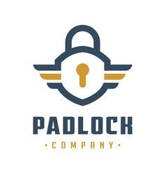 internet safety padlock logo design vector image