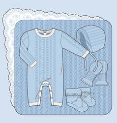 Knitted collection for a newborn boy blue vector