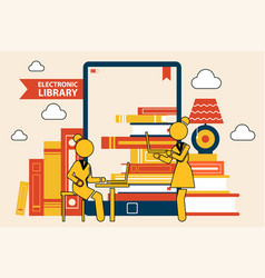 library in e-book online library vector image