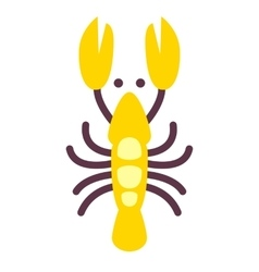 Lobster icon isolated on white flat style vector