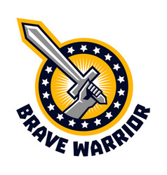 logo brave warriors a hand holding a sword the vector image