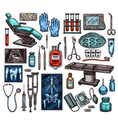 medical equipment and surgery items vector image
