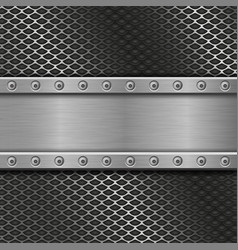 Metal perforated background with rivets vector