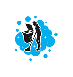 modern cleaning service ladies logo vector image