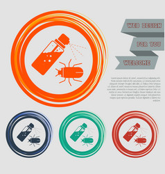 Mosquito spray bug icon on the red blue green vector