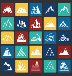 mountain icons set on color squares background for vector image