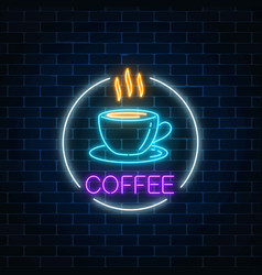 neon glowing sign of hot coffee cup in circle vector image