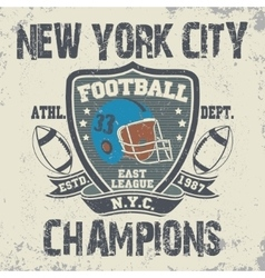 New York football vintage t-shirt graphics vector