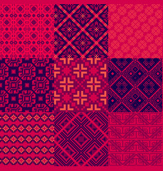 nine abstract geometric patterns in retro style vector image