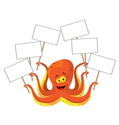 octopus with a sign vector image