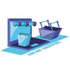 on line shopping with laptop vector image