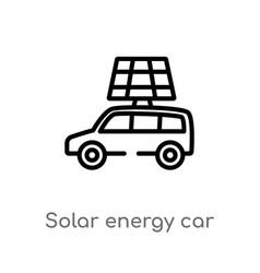 Outline solar energy car icon isolated black vector
