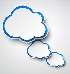 Paper white-blue clouds on grey vector image