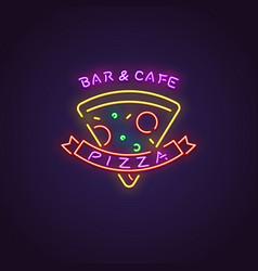 pizza neon banner vector image