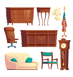 president oval office furniture cartoon set vector image