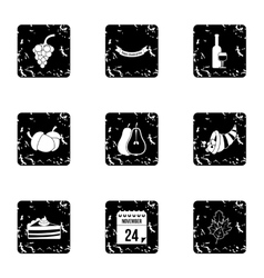 Public holiday of USA icons set grunge style vector