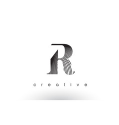 r logo design with multiple lines and black and vector image