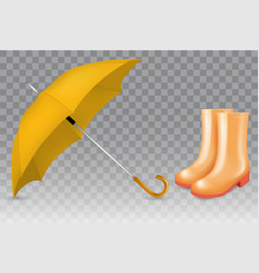 Realistic yellow umbrella and rubber boots vector
