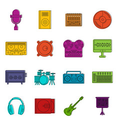 Recording studio items icons doodle set vector