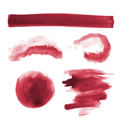 Red watercolor shapes circle splotches stains vector