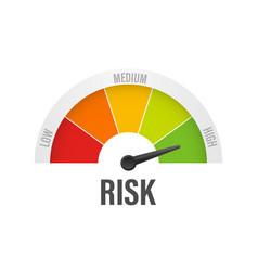 Risk icon on speedometer high risk meter stock vector