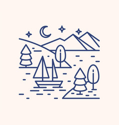 Romantic lake trip on starry night lineart vector